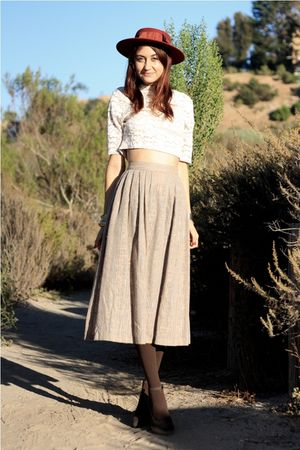 beige vintage top - brown vintage skirt
