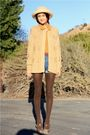 Beige-nos-vintage-sweater-gold-thrift-top-blue-acne-shorts-brown-frye-shoe