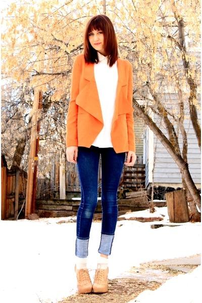 navy Cheap Monday jeans - carrot orange blazer - white blazer