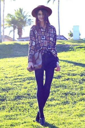 light orange thrifted blouse - black thrifted shorts - cream Zara blazer