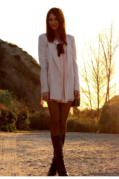 light pink Club Couture dress - neutral Zara blazer - black seychelles boots