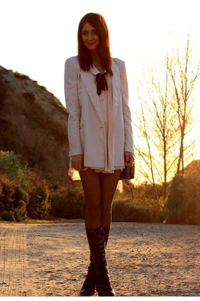 light pink Club Couture dress - neutral Zara blazer - black seychelles boots