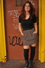 Beige-h-m-skirt-black-urbn-socks-black-boots