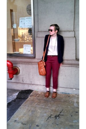 navy Forever21 blazer - burnt orange liz claiborne bag - maroon Forever21 pants