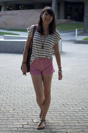 ivory striped Forever 21 top - pink thrifted Levis shorts
