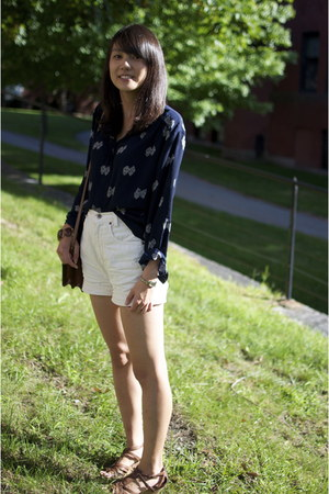 navy thrifted shirt - dark brown thrifted bag - white thrifted shorts
