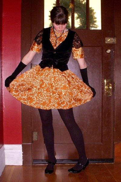 black velvet thrifted vest - black Payless shoes - orange caramel vintage dress