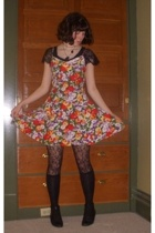 thrifted boots - forever 21 socks - Wet Seal tights - vintage dress - thrifted b