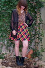 Black-thrifted-boots-black-h-m-socks-red-plaid-mini-vintage-skirt-light-or