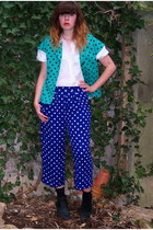 navy polka dot thrifted pants - black ankle thrifted boots