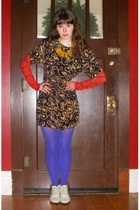 Buffalo Exchange tights - dress - Target tights - thrifted shoes