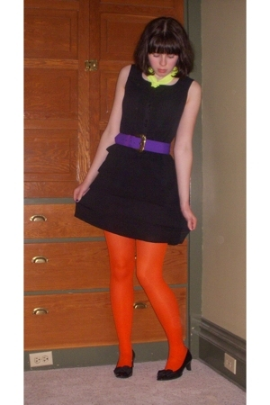 H&M tights - forever 21 accessories - Goodwill dress - thrifted belt - vintage s