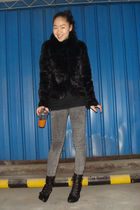 coat - American Apparel jeans - shoes