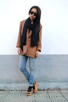 vintage blazer - Zara jeans - Zara scarf