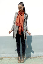 snakeskin coat - shoes - black jeans - scarf