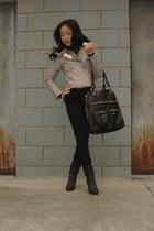 black Alexander McQueen scarf - silver jacket - black H&M jeans - gray shoes - g