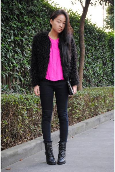 black coat - black H&M jeans - boots
