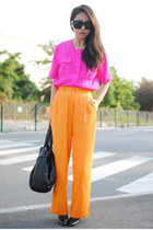 hot pink silk vintage shirt - carrot orange wide leg vintage pants