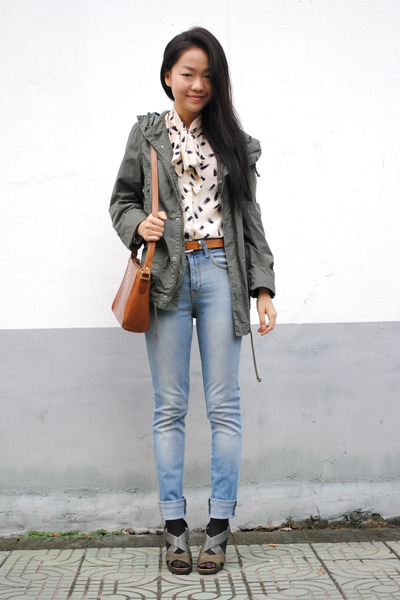 forest green military H&M coat - sky blue H&M jeans - silk vintage shirt