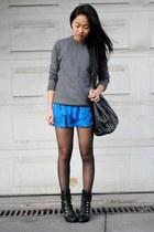 blue scalloped 31 dress - heather gray sweater