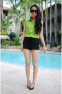 Black-h-m-shorts-lime-green-vintage-shirt