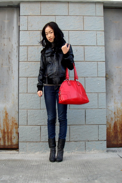 black Zara jacket - Zara jeans - shoes