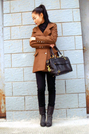 brown BCBG coat - black H&amp;M jeans - shoes