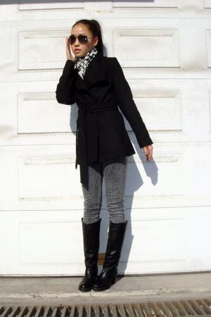 Zara scarf - BCBG coat - H&M jeans - boots
