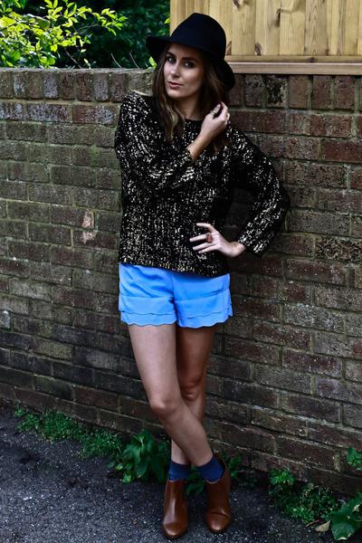 Primark jumper - asos boots - Topshop hat - Topshop shorts