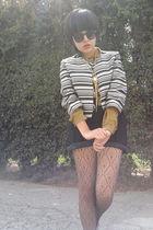 vintage jacket - gold vintage blouse - black vintage shorts - brown vintage tigh