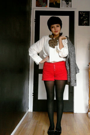 gray vintage jacket - white vintage blouse - red vintage shorts - black vintage