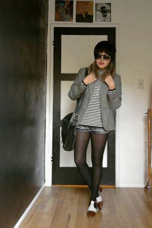 blue vintage blazer - white vintage shirt - silver aa shorts - brown vintage acc