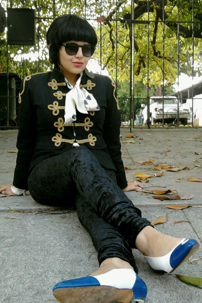 white vintage shoes - blue Boutiqe jacket - black JCP leggings