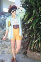 green vintage cardigan - beige vintage blouse - gold vintage shorts - brown vint