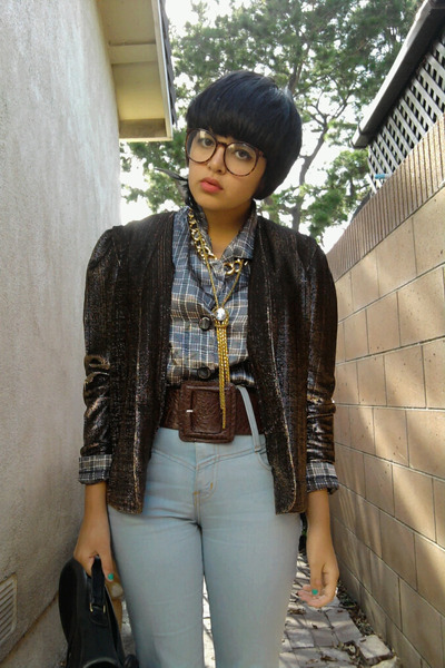 blue Urban Outfitters jeans - gold vintage cardigan - gray vintage blouse