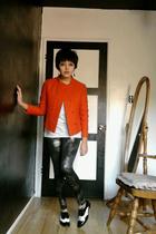 orange jacket - white shirt - gray leggings - black shoes