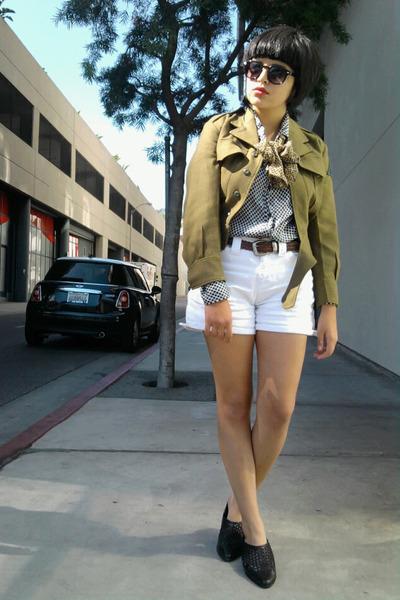 green vintage jacket - black vintage blouse - white vintage shorts - black vinta