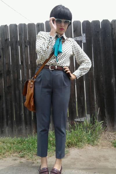 white vintage blouse - blue JCP pants - brown vintage shoes - brown vintage acce