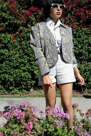 gray vintage jacket - white vintage shirt - blue vintage shorts - blue vintage a