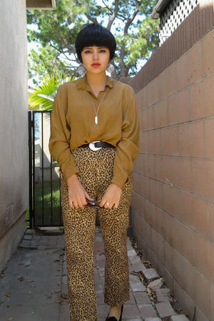 gold vintage blouse - black vintage shoes