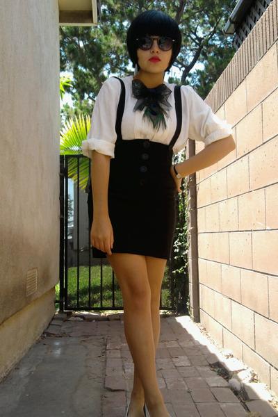 gray bowtie handmade accessories - white vintage shirt - black jumper gifted