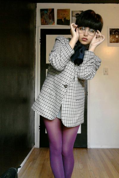 black vintage jacket - purple Target tights - black moms accessories - brown vin