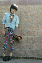 blue vintage blouse - vintage shoes - black vintage leggings