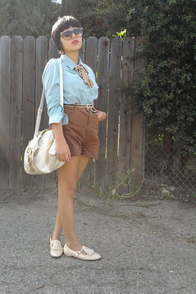 blue vintage blouse - brown vintage shorts - beige vintage accessories - beige s