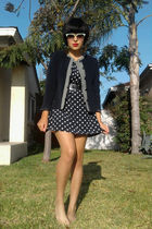 blue navy blue vintage jacket - blue vintage top