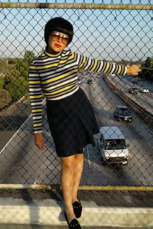 blue vintagee dress - gold vintage dress - black vintage shoes