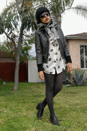 gray collection b jacket - white vintage blouse - black moms tights - black vint