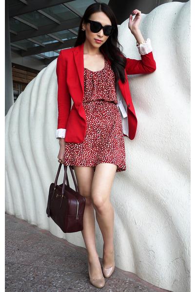 Red Fitted Zara Blazer Ruby