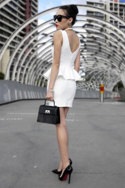 White Peplum Topshop Dresses Black Patent Louis Vuitton Bags
