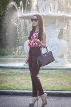 maroon Prada bag - hot pink Target blouse - light pink tony bianco heels